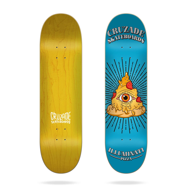 "Cruzade Illuminaty Pizza 8.0"" skateboard deck"