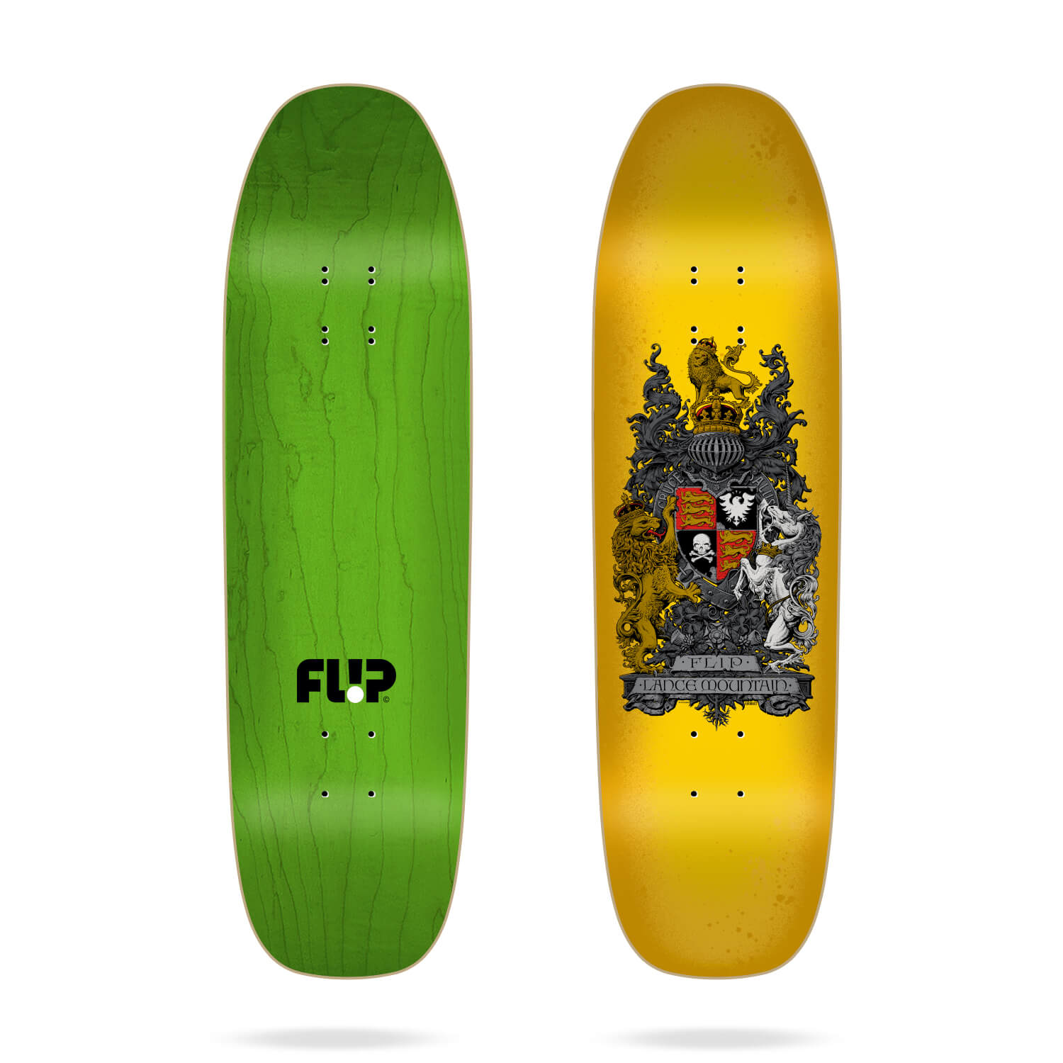 "Flip Mountain Crest Yellow 9.0"" skateboard deck"