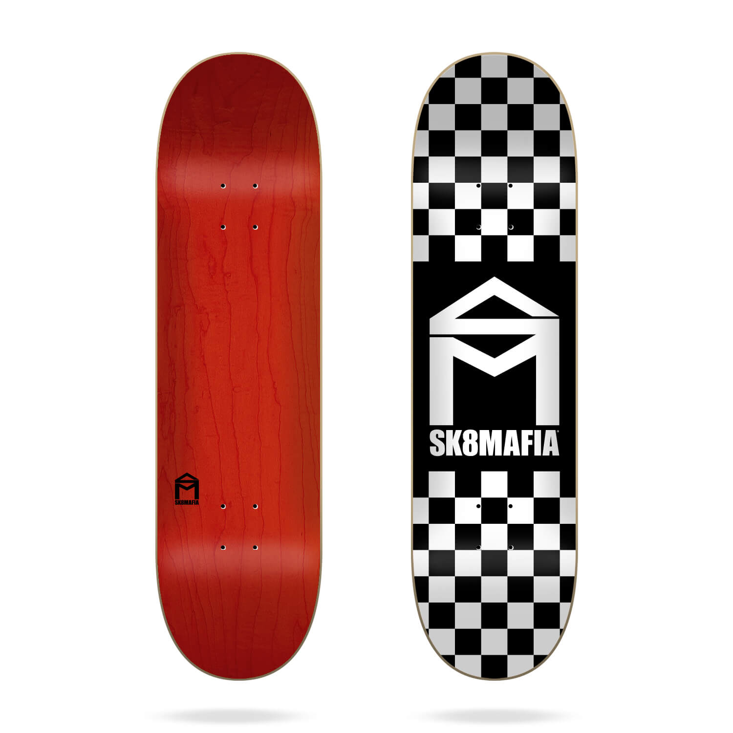 "Sk8mafia House Logo Checker Black 8"" skateboard deck"