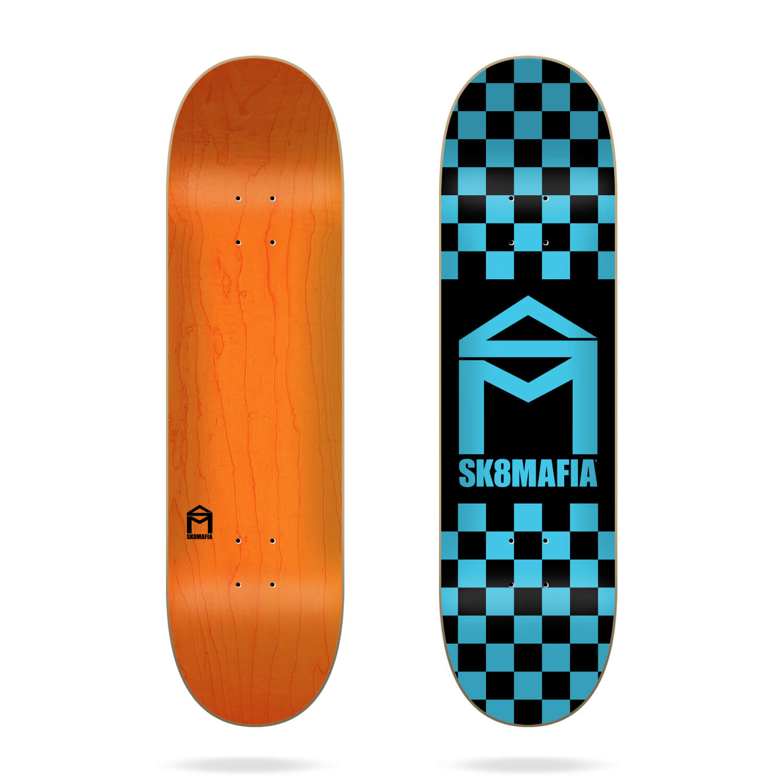 "Sk8mafia House Logo Checker Blue 8.3"" skateboard deck"