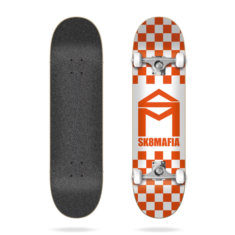 "Sk8mafia House Logo Checker Orange 8.0"" complete skateboard"