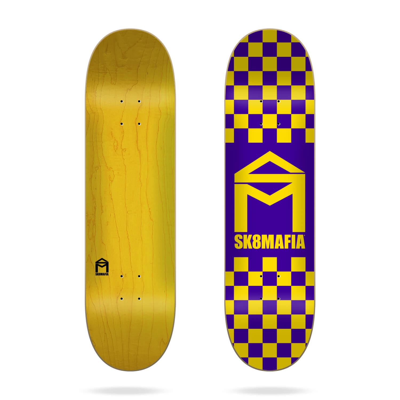 "Sk8mafia House Logo Checker Purple 8.1"" skateboard deck"